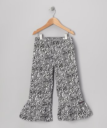 Black & White Zebra Ruffle Pants - Infant, Toddler & Girls