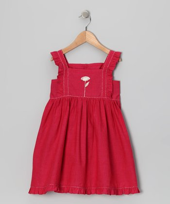Hot Pink Embroidered Dress - Girls
