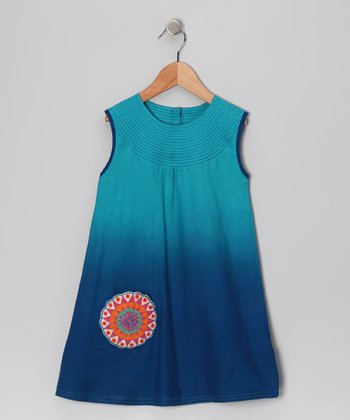 Sugar Turquoise & Blue Appliqué Yoke Dress - Infant, Toddler & Gi