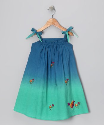 Sugar Blue Ombré Embroidered Dress - Infant, Toddler & Girls