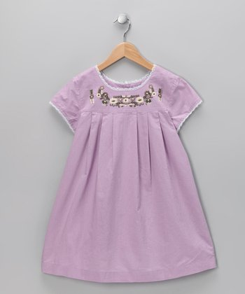 Lilac Embroidered Babydoll Dress - Infant, Toddler & Girls