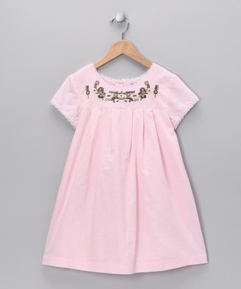 Soft Pink Embroidered Babydoll Dress - Infant, Toddler & Girls