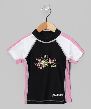 Licorice & Pink Short-Sleeve Rashguard - Infant, Toddler & Girls