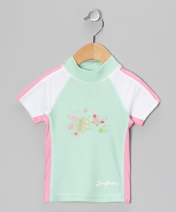 Mint & Cotton Candy Short-Sleeve Rashguard - Infant & Girls