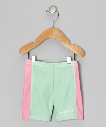Mint & Cotton Candy Stripe Swim Shorts - Infant, Toddler & Girls