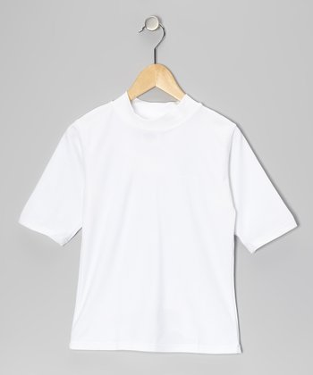 White Short-Sleeve Rashguard - Boys