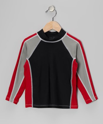 Licorice & Red Long-Sleeve Rashguard - Infant, Toddler & Boys