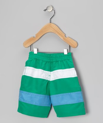 Sea Foam & Blue Stripe Swim Trunks - Infant & Boys
