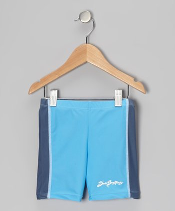 Splash & Steely Blue Swim Shorts - Infant, Toddler & Boys