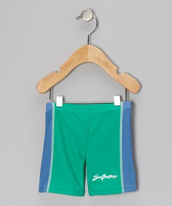 Sea Foam & Caribbean Blue Swim Shorts - Infant, Toddler & Boys