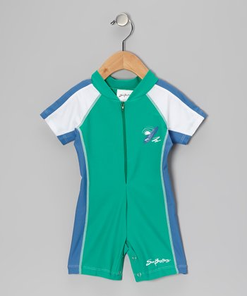 Sea Foam & Blue Short One-Piece Rashguard - Infant & Boys