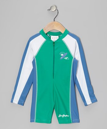 Sea Foam & Blue Long One-Piece Rashguard - Boys