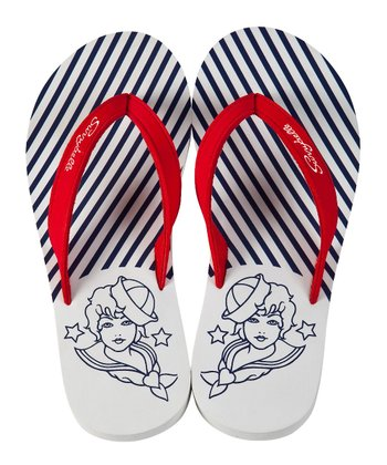 White Ahoy Captain! Flip-Flop - Women