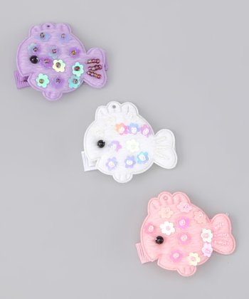 Purple & White Sequin Fish Clip Set