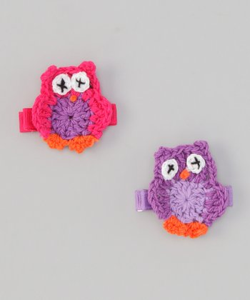 Pink & Purple Crochet Owl Clip Set