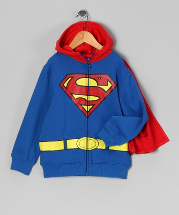 Blue Superman Zip-Up Hoodie - Kids