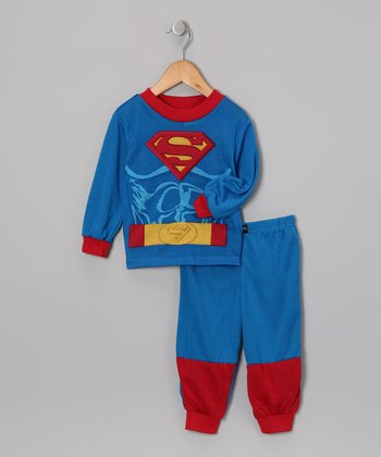Royal Blue & Red Superman Pajama Set - Toddler
