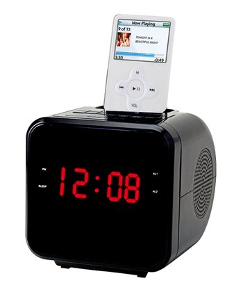 Black Alarm Clock Radio for iPod/iPhone