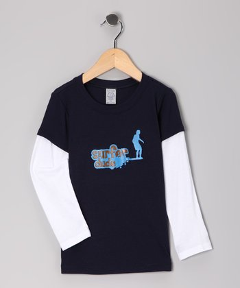 Surfer Baby Navy 'Surfer Dude' Layered Tee - Toddler & Boys