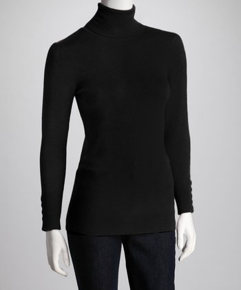 Black Button-Sleeve Turtleneck