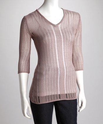 Bark Sheer Knit V-Neck Sweater