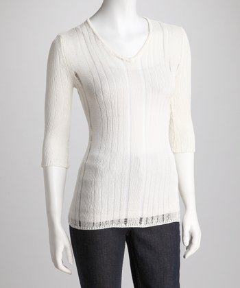 Ivory Sheer Knit V-Neck Sweater