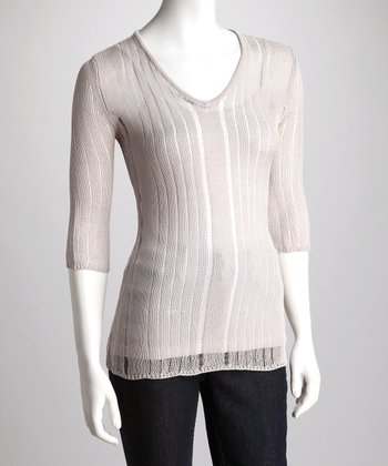 Silver Sheer Knit V-Neck Sweater