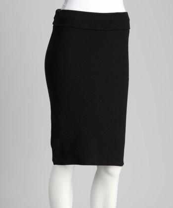 Black Fold-Over Pencil Skirt