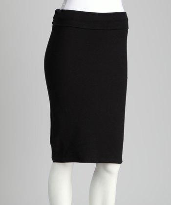 Black Fold-Over Pencil Skirt