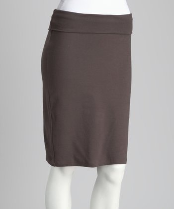 Gray Fold-Over Pencil Skirt