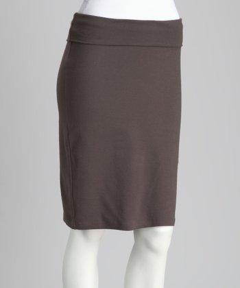 Gray Fold-Over Pencil Skirt