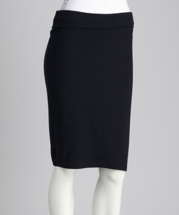 Navy Fold-Over Pencil Skirt