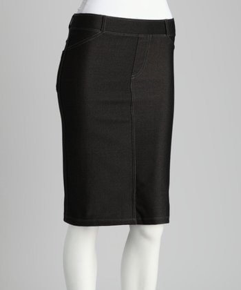 Black Faux Denim Pencil Skirt