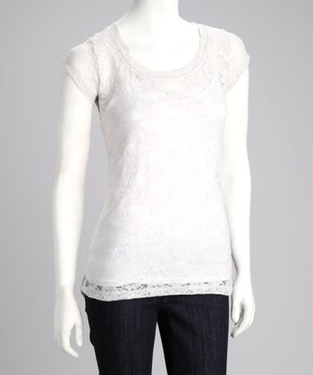 Silver Sheer Lace Cap-Sleeve Tee
