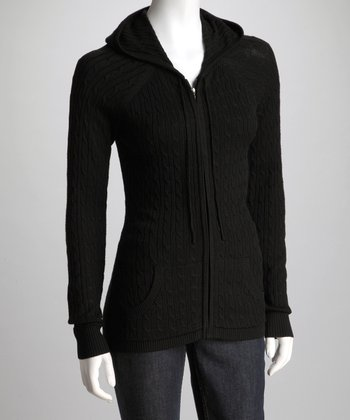 Black Knit Zip-Up Hoodie