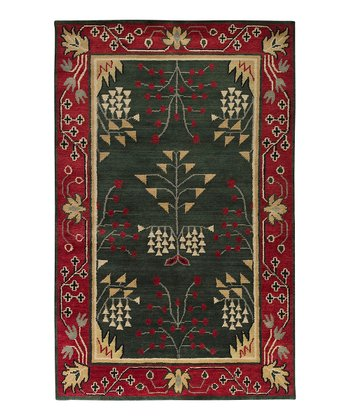 Red Arts & Crafts Wool Rug