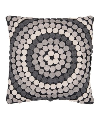 Black Olive & Dove Gray Ring Throw Pillow