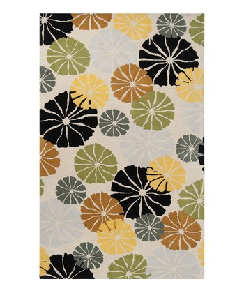 Lemon & Fern Green Blossom Dreamscape Wool Rug