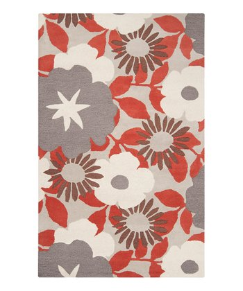 Feather Gray & Terra-Cotta Blossom Dreamscape Wool Rug
