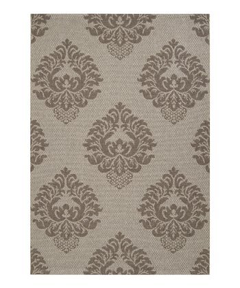 Light Gray & Dark Gray Elements Indoor/Outdoor Rug