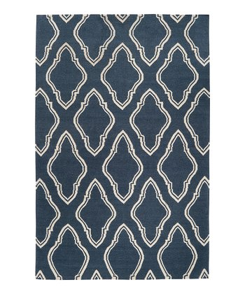 Slate Blue & Cream Fallon Wool Rug
