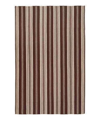 Brown & Beige Farmhouse Stripe Wool Rug