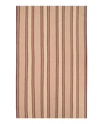 Tan & Salmon Farmhouse Stripe Wool Rug