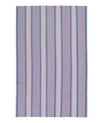 Purple Farmhouse Stripe Wool Rug