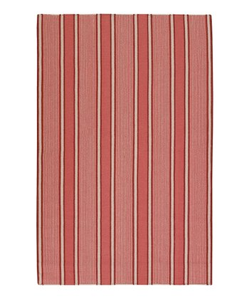 Coral & Burgundy Farmhouse Stripe Wool Rug