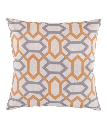 Golden Raisin & Dove Gray Geometric Throw Pillow