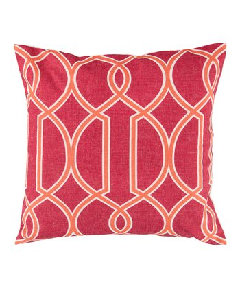 Red Raspberry & Orange Geometric Throw Pillow