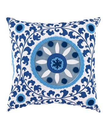 Foggy Blue & Mediterranean Blue Floral Throw Pillow