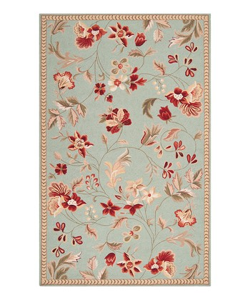 Flame Orange Floral Wool Rug