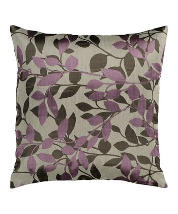 Gray & Grape Leaf Throw Pillow
